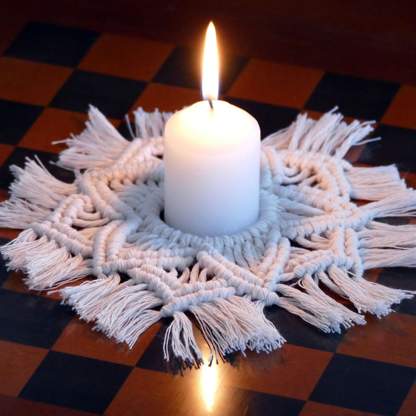 How To Make A Macrame Candle Mat