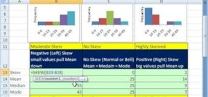 Calculate skew in a distribution in Microsoft Excel