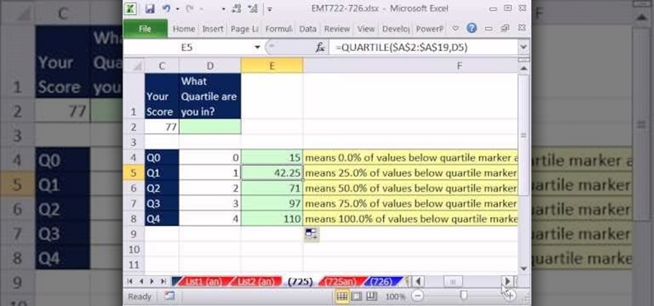 how to get quartiles in excel