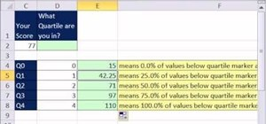 Calculate quartiles with the Microsoft Excel 2010 QUARTILE function