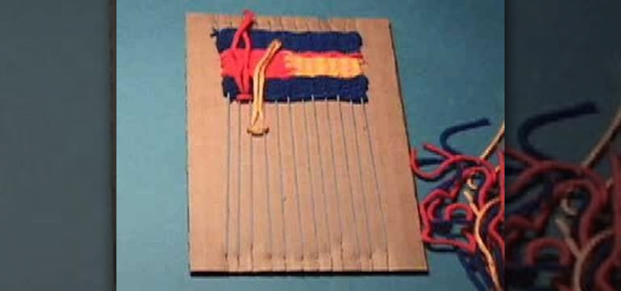 How To Make A Small Basket Weave Loom Bracelet : How to weave on a cardboard loom ? weaving wonderhowto