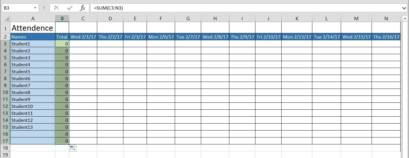 Test Out The Tally By Entering In 1 For Students (to Indicate Attendance)  Or Leaving Boxes Blank (to Indicate Absence).  Attendance Sheet For Students