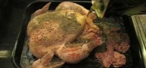 Cook a whole roast chicken in the oven