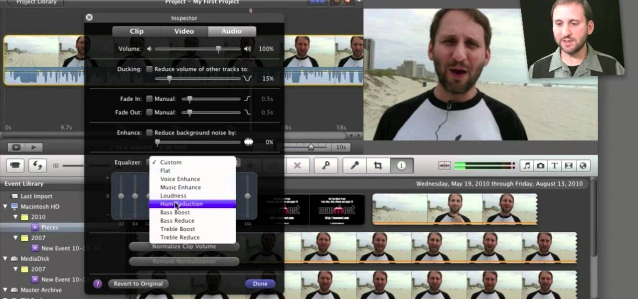 How to Edit and apply effects to an audio track in Apple iMovie 11 ...
