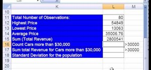 Use Excel data analysis functions (max, min, average)
