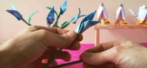 Origami realistic birds of paradise flowers