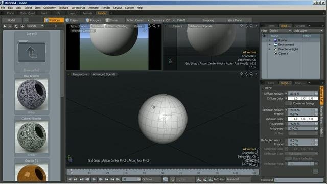 Use the bump and displacement options in the modo Shader Tree tool