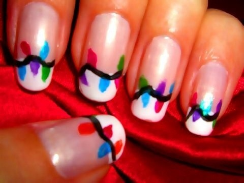 Create holiday lights nail art