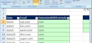 Extract email extensions with filters in MS Excel