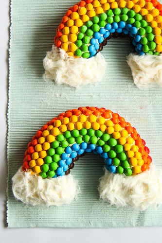 RECIPE: Rainbow M&M Cake With Fluffy White Clouds