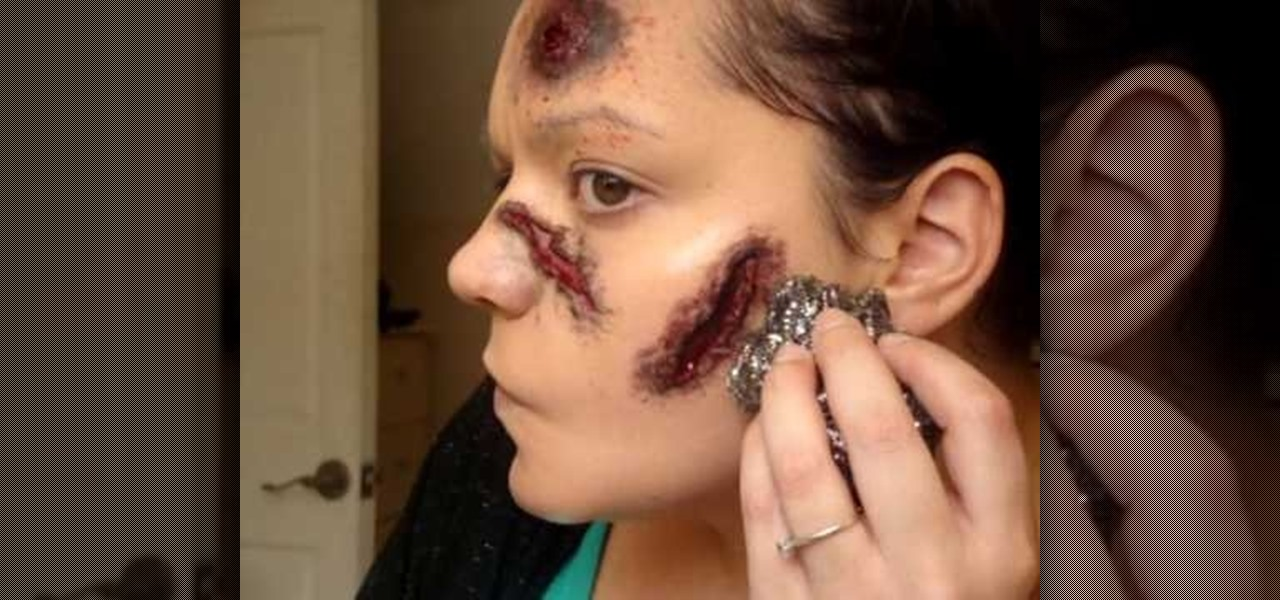 How to Do a makeup open wounded face effect for Halloween - How To Do Halloween Makeup
