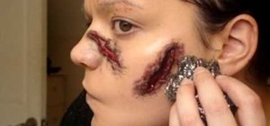 Do a makeup open wounded face effect for Halloween