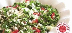 Make a raw cauliflower and chopped kale leaves salad