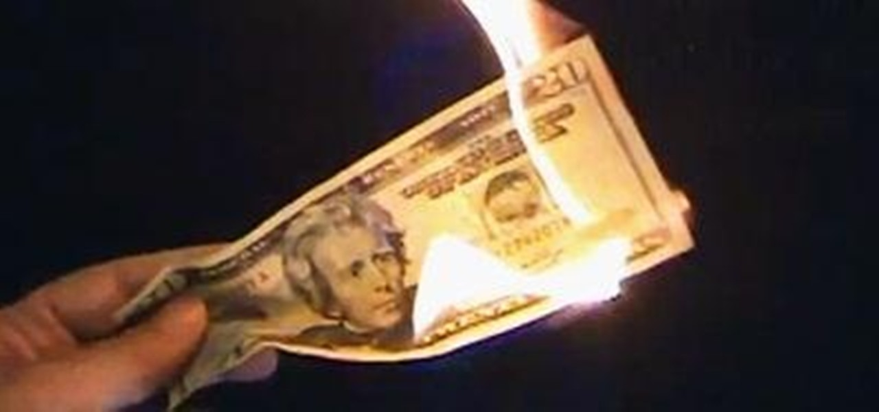 image of a burning $20 US bill featuring Andrew Jackson