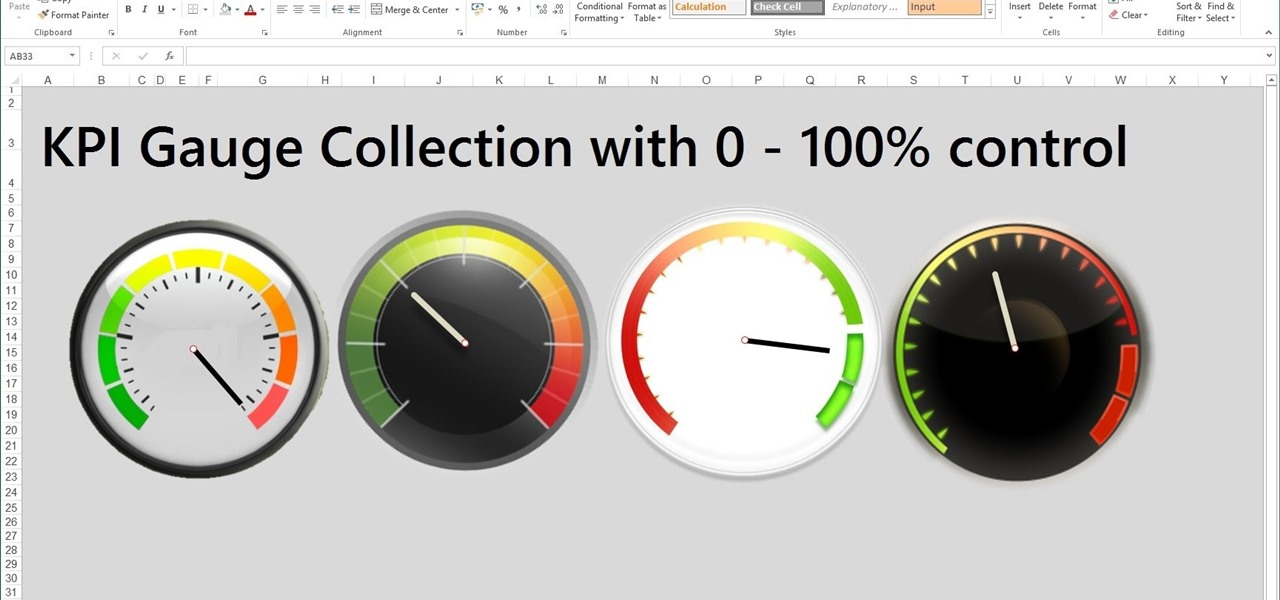 How To Create Excel Kpi Gauge Dashboard Templates  Microsoft