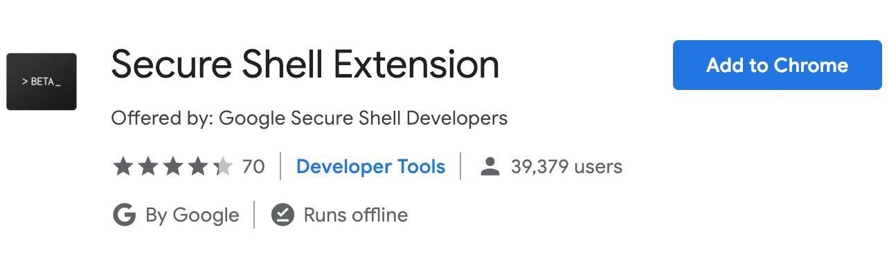 How to use the Secure Shell app for Chrome to SSH Remote Tools