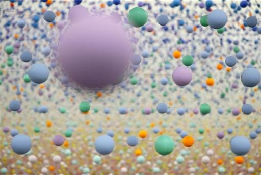 Thousands of Bouncy Balls Extended in Space