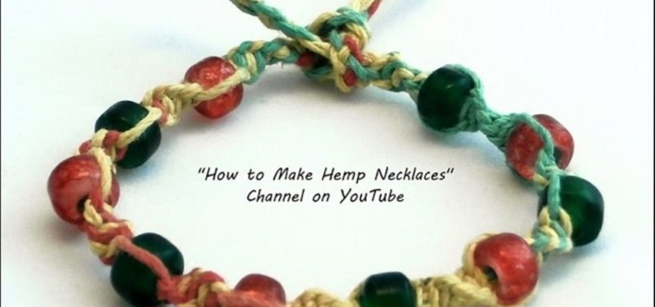 DIY Colorful Hemp Bracelet with Red and Green Beads