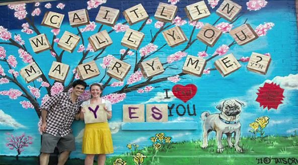 Scrabble and Graffiti Join Forces for the Perfect Marriage Proposal