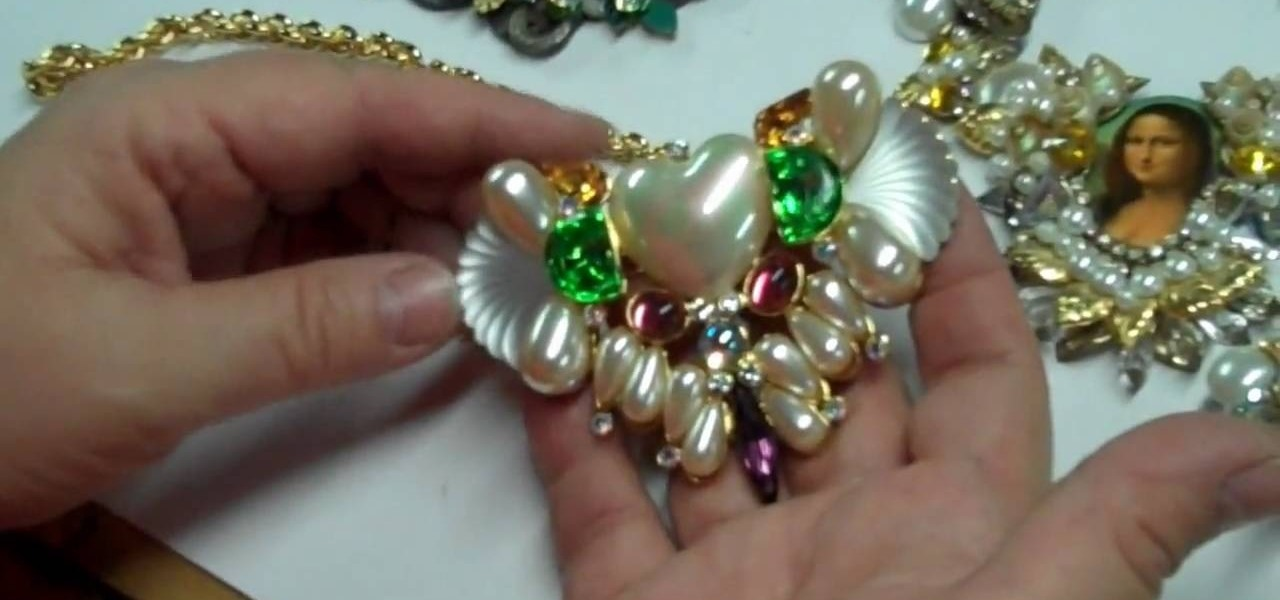 How to craft a vintage collage necklace with brass for Rhinestone jewels for crafts