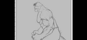 Draw a side shot of The Incredible Hulk