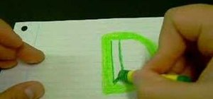 "Draw the letter ""D"" as a 3D block letter"