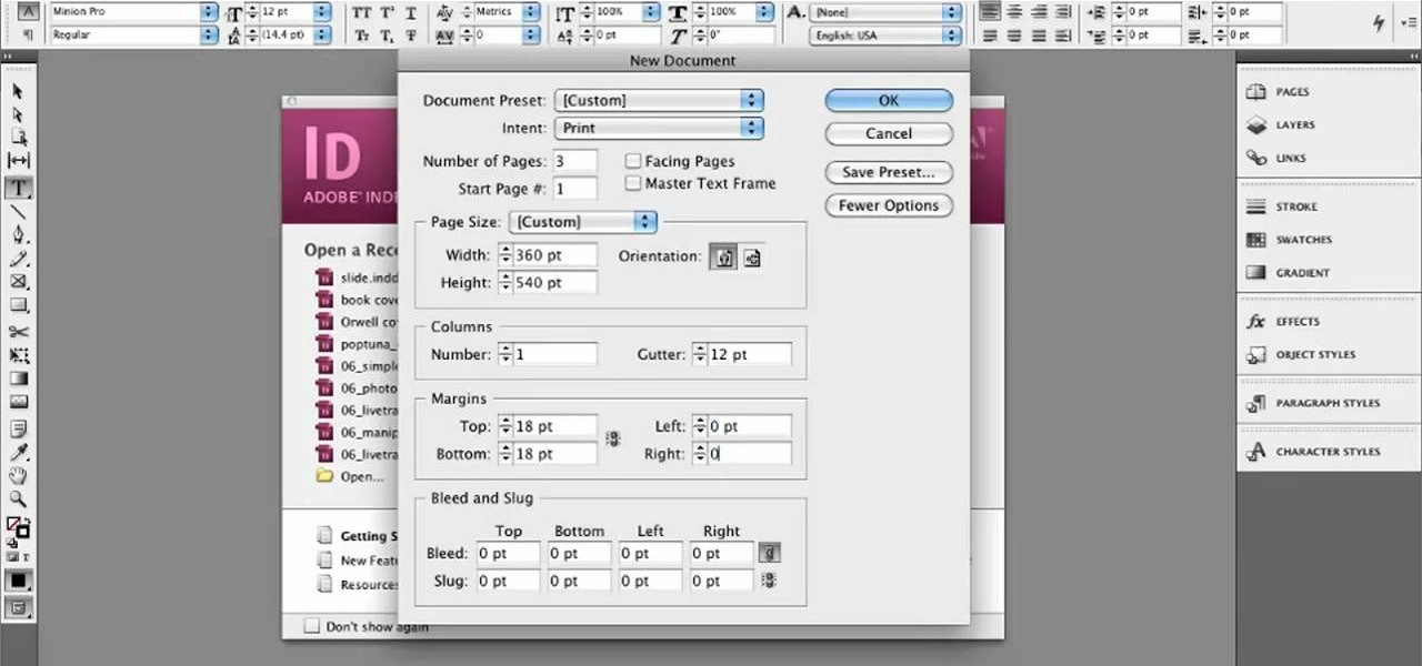 How to Set up a document for book cover design in Adobe InDesign CS5 ...