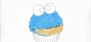 Draw the Cookie Monster cupcake