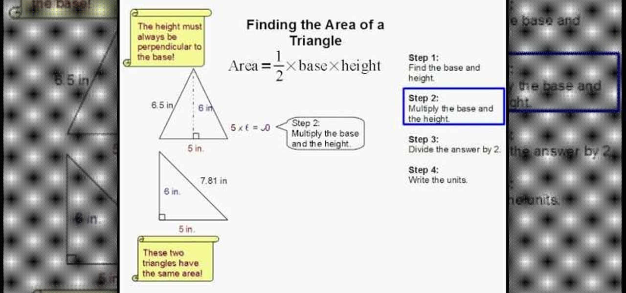 How To Find The Area Of A Triangle In Geometry Math
