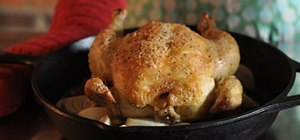 Carve a whole roasted chicken