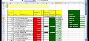 Create a checkbook-balancing formula in Excel
