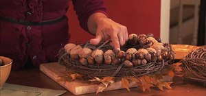 Create a fall wreath with acorns and leaves