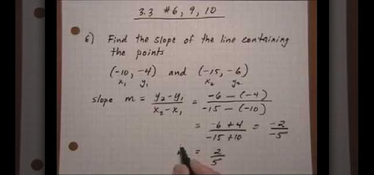 How To Find The Slope Of A Line Given 2 Points With Fractions Math