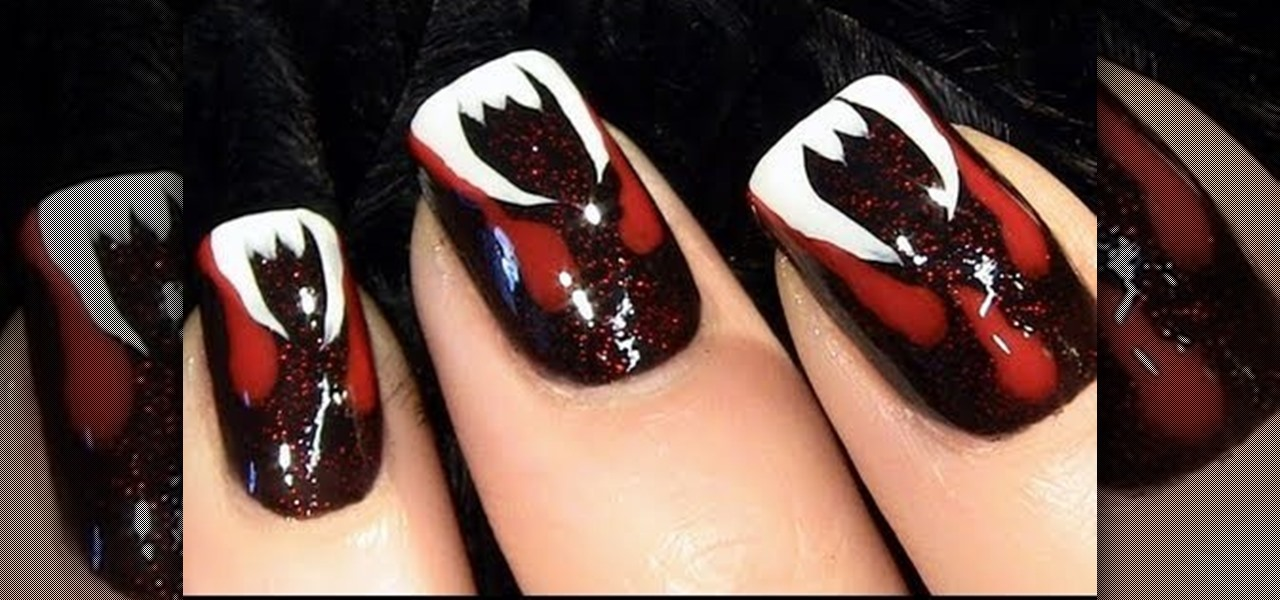 How to Create a bloody fang vampire nail look for Halloween « Nails ...