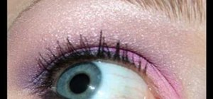 Apply pink and purple eyeshadow