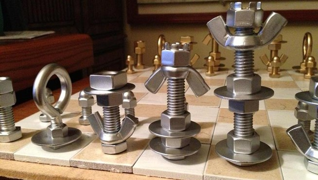 How to Make a MacGyver-Style Chess Set Using Just Nuts & Bolts