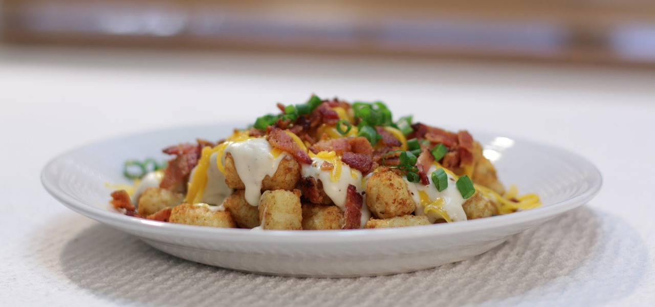 Make Tot Chos (Bacon, Tater Tots, Gravy, Cheese)