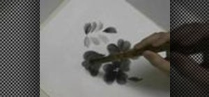 Paint a Trumpet Creeper (Nozen Kazura) in Sumi-e ink