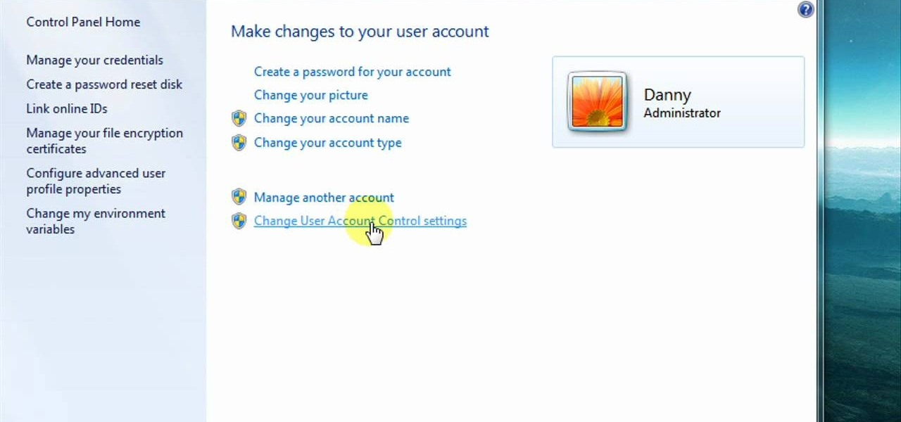 how to change user account in windows 7 to administrator