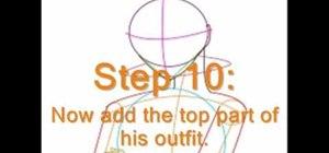 Draw anime character Sasuke step by step