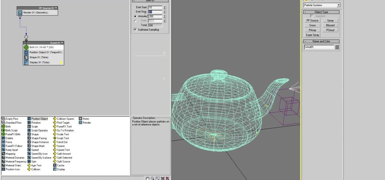 How to model particle dispersion in 3d studio max for 3d studio max models