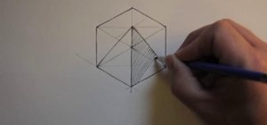Draw an isometric pyramid inside a cube