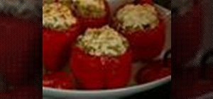 Make vegetarian roasted stuffed red peppers with eggplant
