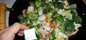 Stir fry vegetables in a light white sauce