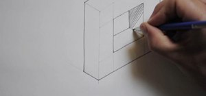 Draw an isometric holed square prism using a template