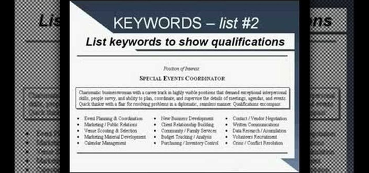 How To Write A Resume Using Strong Language And Keywords « Jobs U0026 Resumes  :: WonderHowTo  Keywords In Resume
