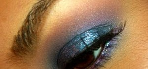 Create a sparkly blue and lavender eye makeup look