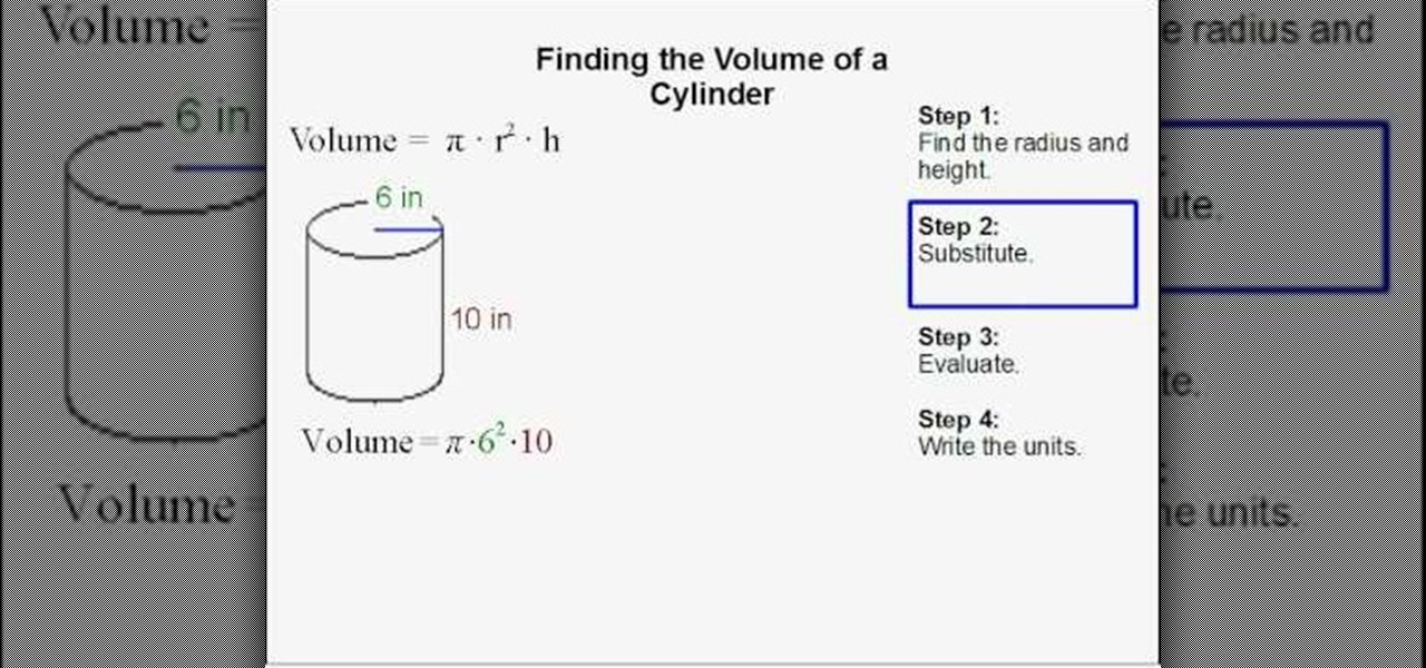 How To Find The Volume Of A Cylinder 171 Math Wonderhowto