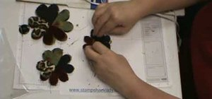 Assemble a flower-fold die-cut flowers w/ a glue gun