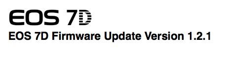 Canon 7D's Firmware Update v1.2.1: 4/17/10